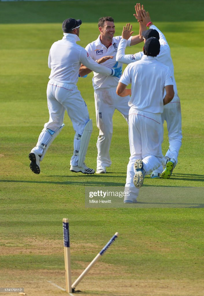 James Anderson of England celebrates the wicket of Peter Siddle of Australia with team mates during day four of the 2nd Investec Ashes Test match between England and Australia at Lord's Cricket Ground on July 21, 2013 in London, England.