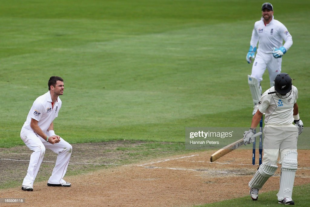 James Anderson of England celebrates the wicket of <a gi-track='captionPersonalityLinkClicked' href=/galleries/search?phrase=Ross+Taylor&family=editorial&specificpeople=845922 ng-click='$event.stopPropagation()'>Ross Taylor</a> of New Zealand during day three of the First Test match between New Zealand and England at University Oval on March 8, 2013 in Dunedin, New Zealand.