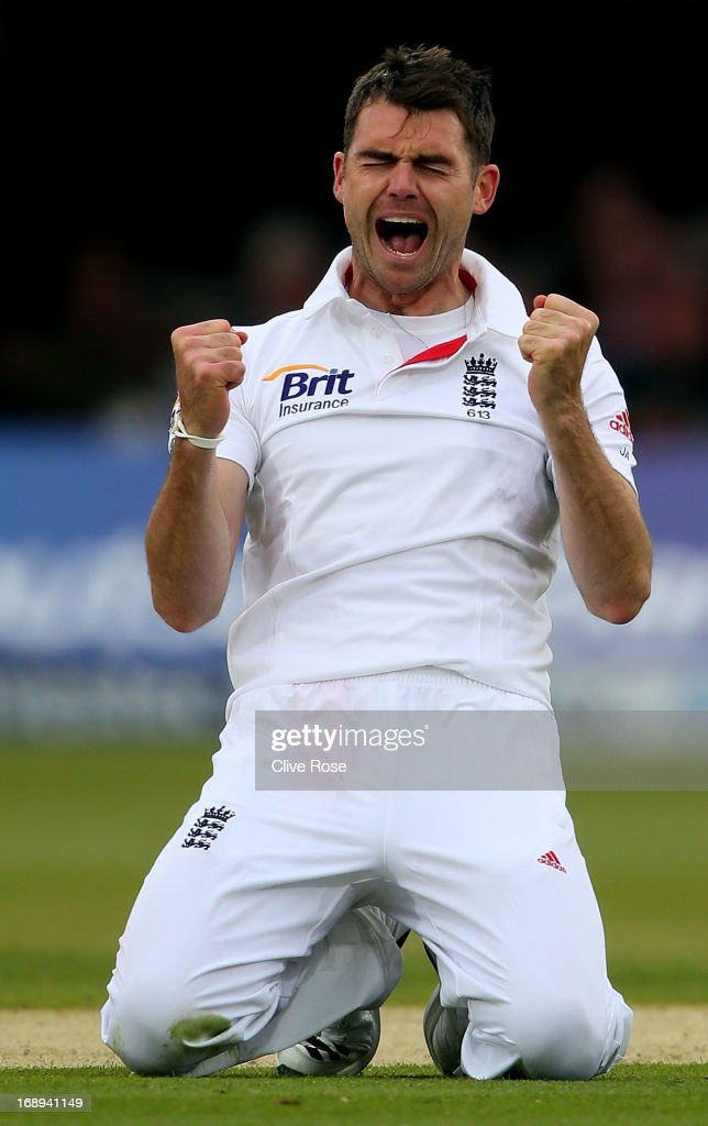 James Anderson of England celebrates the wicket of Ross Taylor of New Zealand during day two of 1st Investec Test match between England and New Zealand at Lord's Cricket Ground on May 17, 2013 in London, England.