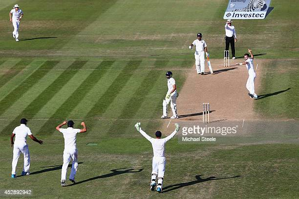 James Anderson of England celebrates trapping Ravindra Jadeja of India lbw during day three of the 3rd Investec Test match between England and India...
