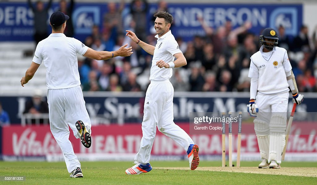 James Anderson of England celebrates with Alex Hales after taking the final wicket of Nuwan Pradeep of Sri Lanka to win the 1st Investec Test match at Headingley on May 20, 2016 in Leeds, England.