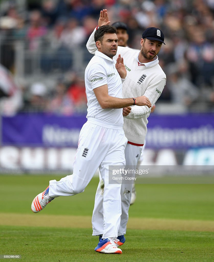 <a gi-track='captionPersonalityLinkClicked' href=/galleries/search?phrase=James+Anderson+-+Cricket&family=editorial&specificpeople=6920305 ng-click='$event.stopPropagation()'>James Anderson</a> of England celebrates with <a gi-track='captionPersonalityLinkClicked' href=/galleries/search?phrase=James+Vince&family=editorial&specificpeople=5807286 ng-click='$event.stopPropagation()'>James Vince</a> after dismissing Kusal Mendis of Sri Lanka during day three of the 2nd Investec Test match between England and Sri Lanka at Emirates Durham ICG on May 29, 2016 in Chester-le-Street, United Kingdom.