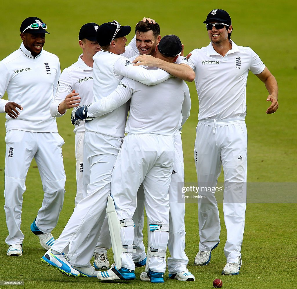 <a gi-track='captionPersonalityLinkClicked' href=/galleries/search?phrase=James+Anderson+-+Cricket+Player&family=editorial&specificpeople=6920305 ng-click='$event.stopPropagation()'>James Anderson</a> of England celebrates with team mates after dismissing Kaushal Silva of Sri Lanka during day three of 1st Investec Test match between England and Sri Lanka at Lord's Cricket Ground on June 14, 2014 in London, England.