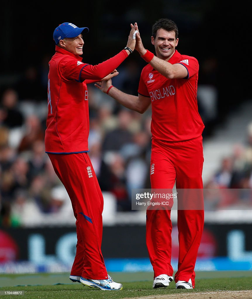 James Anderson of England (R) celebrates with teammate <a gi-track='captionPersonalityLinkClicked' href=/galleries/search?phrase=Joe+Root&family=editorial&specificpeople=6688996 ng-click='$event.stopPropagation()'>Joe Root</a> after dismissing Kusal Perera of Sri Lanka (not pictured) during the ICC Champions Trophy group A match between England and Sri Lanka at The Kia Oval on June 13, 2013 in London, England.