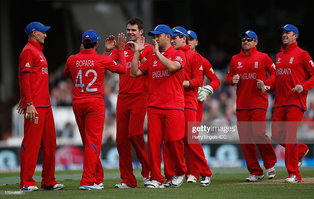 James Anderson of England (3L) celebrates with teammates after dismissing Kusal Perera of Sri Lanka (not pictured) during the ICC Champions Trophy group A match between England and Sri Lanka at The Kia Oval on June 13, 2013 in London, England.