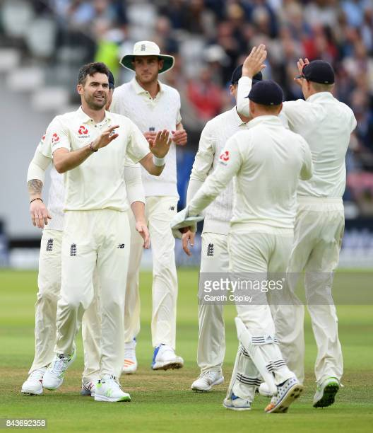 James Anderson of England celebrates with teammates after dismissing Kyle Hope of the West Indies during day one of the 3rd Investec Test match...