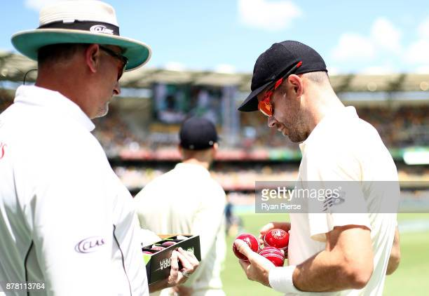 James Anderson of England chooses the ball during day two of the First Test Match of the 2017/18 Ashes Series between Australia and England at The...