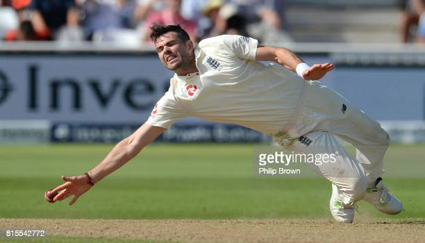 James Anderson of England fails to stop the ball during the third day of the 2nd Investec Test match between England and South Africa at Trent Bridge...