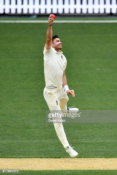 James Anderson of England fields during day two of the Four Day Tour match between the Cricket Australia XI and England at Adelaide Oval on November...