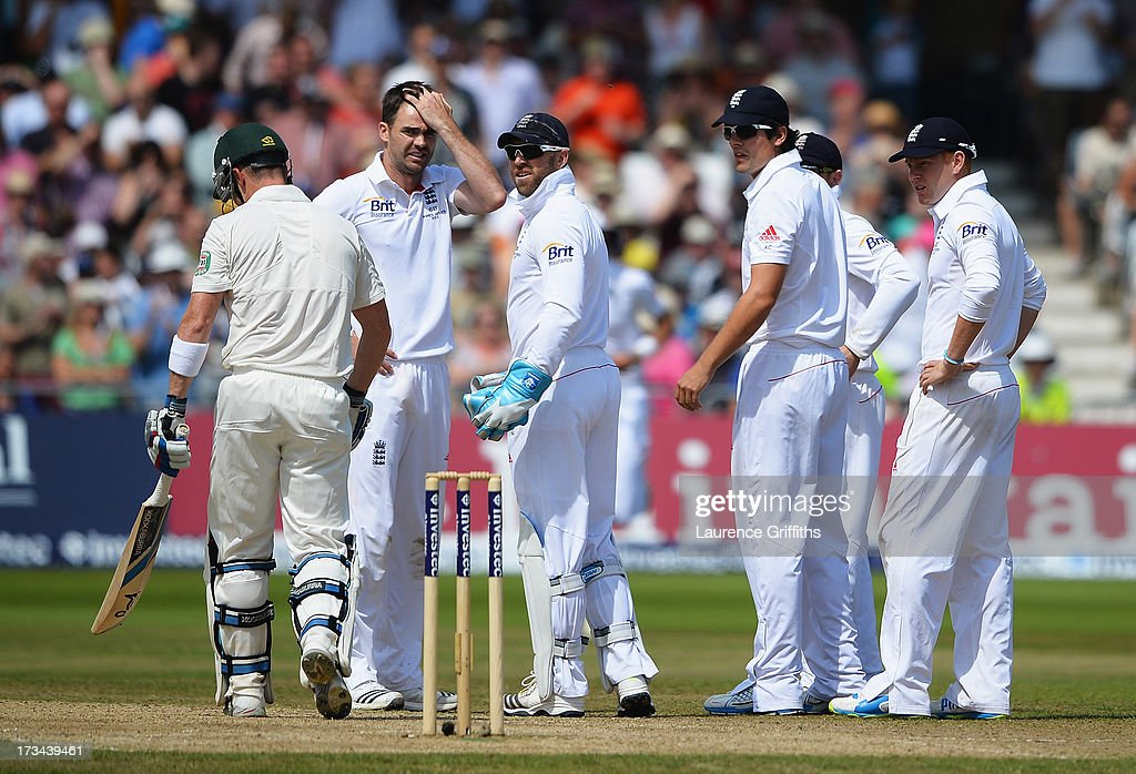 James Anderson of England holds his head after his appeal for the wicket of Brad Haddin of Australia was referred but later given out during day five of the 1st Investec Ashes Test match between England and Australia at Trent Bridge Cricket Ground on July 14, 2013 in Nottingham, England.