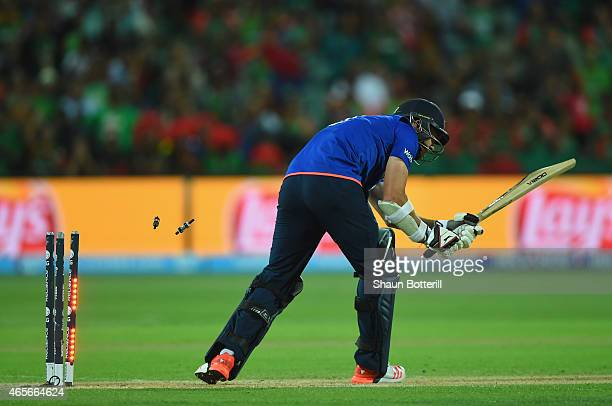 James Anderson of England is bowled for the final wicket during the 2015 ICC Cricket World Cup match between England and Bangladesh at Adelaide Oval...