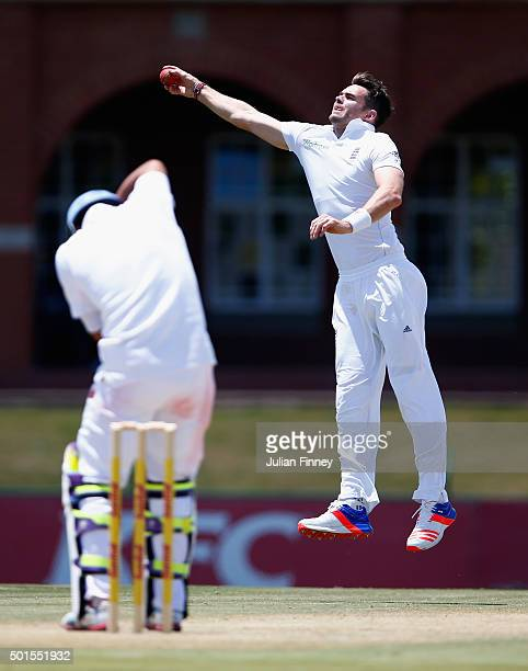 James Anderson of England jumps to stop runs during day two of the tour match between South Africa Invitational XI and England at Senwes Park on...