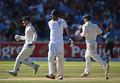 James Anderson of England looks dejected after being bowled for the final wicket during day four of the 2nd Investec Ashes Test match between England...