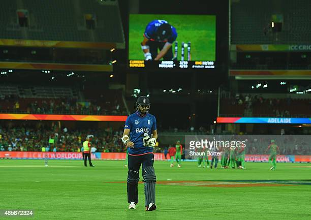 James Anderson of England looks dejected as he leaves the field after the 2015 ICC Cricket World Cup match between England and Bangladesh at Adelaide...
