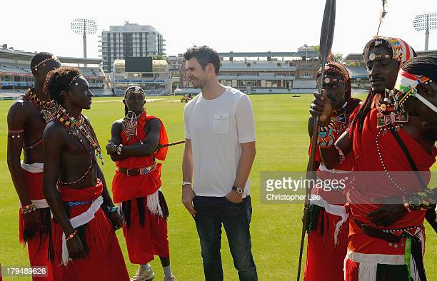 James Anderson of England meets the Maasai Warriors Cricket Team during the Last Man Standing Finals at Lords on September 4 2013 in London England