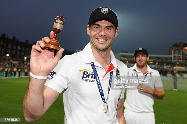 James Anderson of England poses with the urn after winning the Ashes during day five of the 5th Investec Ashes Test match between England and...