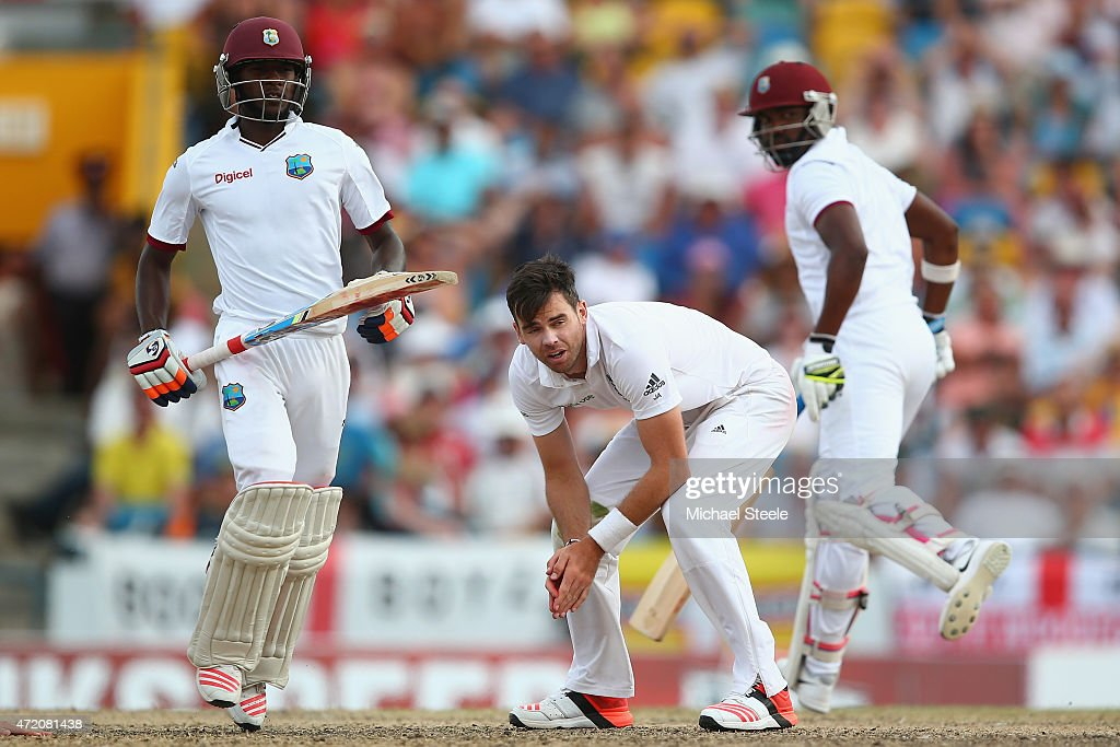 <a gi-track='captionPersonalityLinkClicked' href=/galleries/search?phrase=James+Anderson+-+Cricketspeler&family=editorial&specificpeople=6920305 ng-click='$event.stopPropagation()'>James Anderson</a> (C) of England shows his frustration as a caught and bowled chance was missed from Jermaine Blackwood (L) of West Indies during day three of the 3rd Test match between West Indies and England at Kensington Oval on May 3, 2015 in Bridgetown, Barbados.