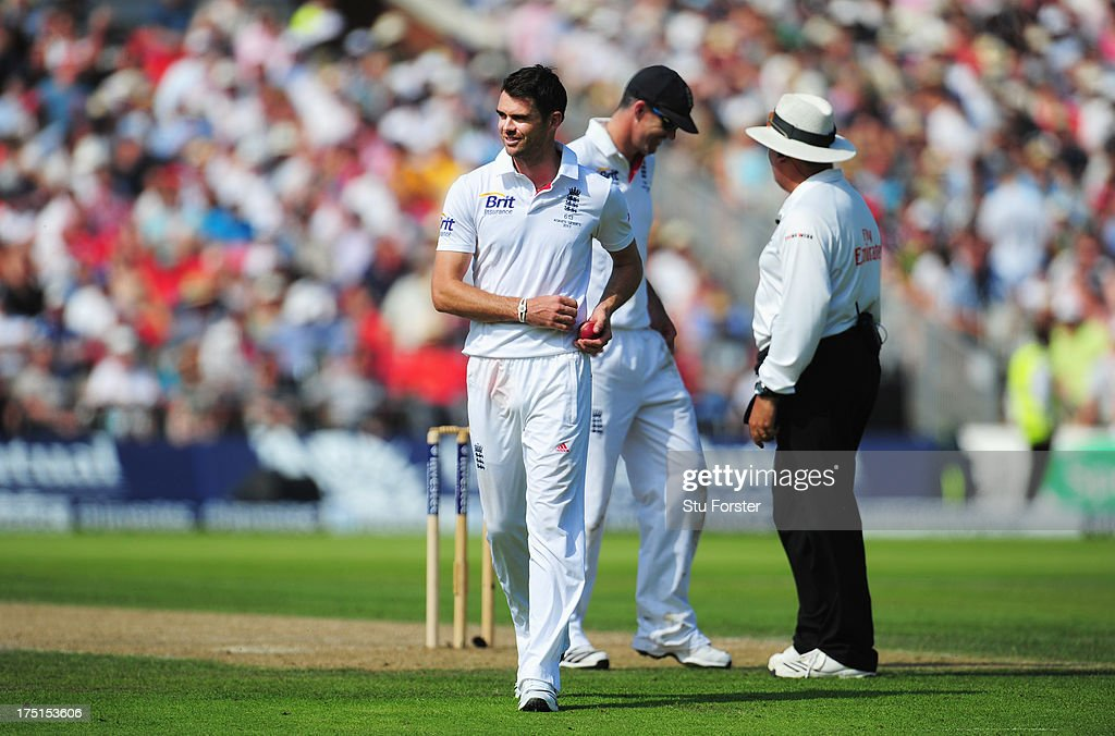 James Anderson of England smiles after the third umpire gave Steve Smith of Australia not out during day one of the 3rd Investec Ashes Test match between England and Australia at Old Trafford Cricket Ground on August 1, 2013 in Manchester, England.