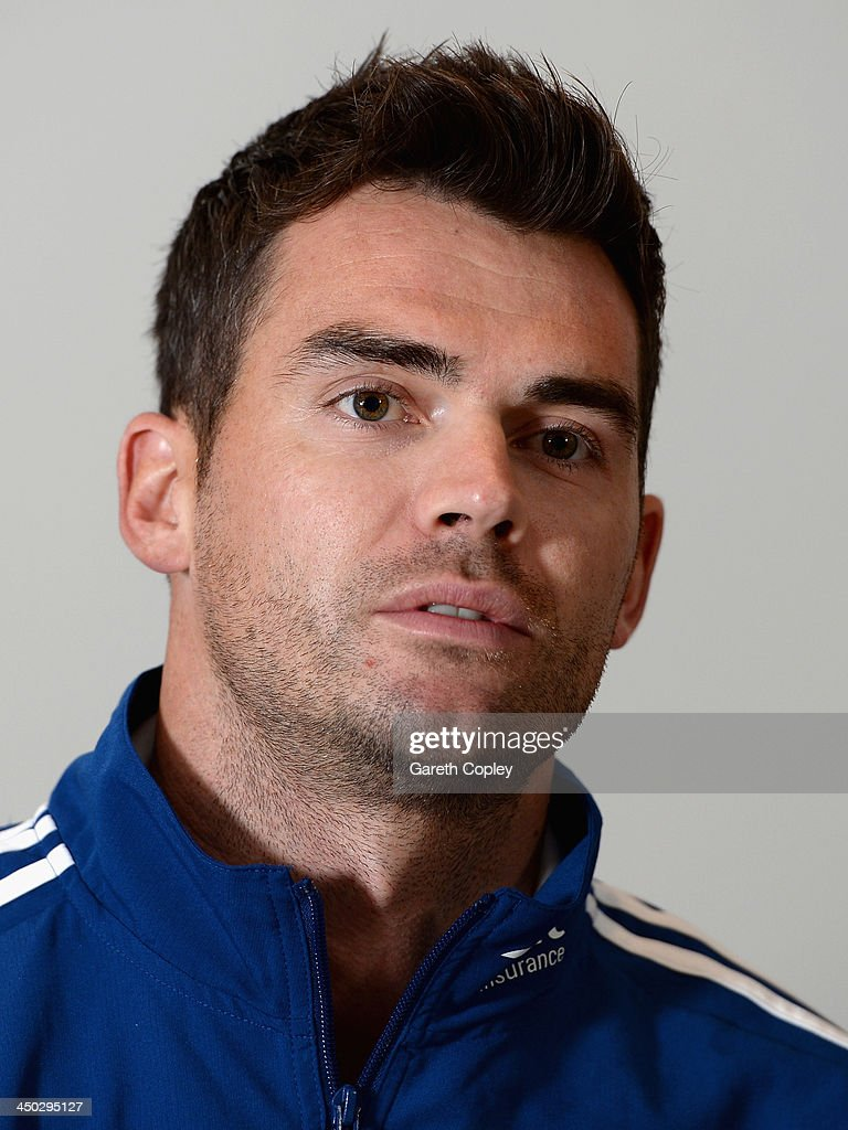 James Anderson of England speaks during a press conference at the team hotel on November 18, 2013 in Brisbane, Australia.
