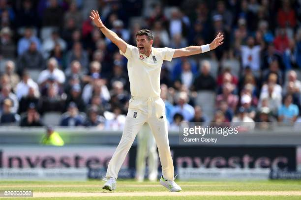 James Anderson of England successfully appeals for the wicket of Dean Elgar of South Africa during day two of the 4th Investec Test between England...