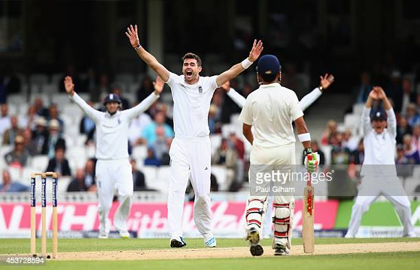 James Anderson of England successfully appeals for the wicket of Murali Vijay of India for Lbw and 2 runs during day three of the 5th Investec Test...