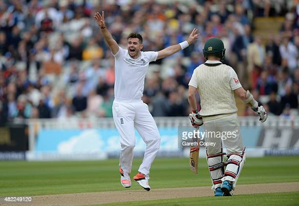 James Anderson of England successfully appeals for the wicket of David Warner of Australia during day one of the 3rd Investec Ashes Test match...