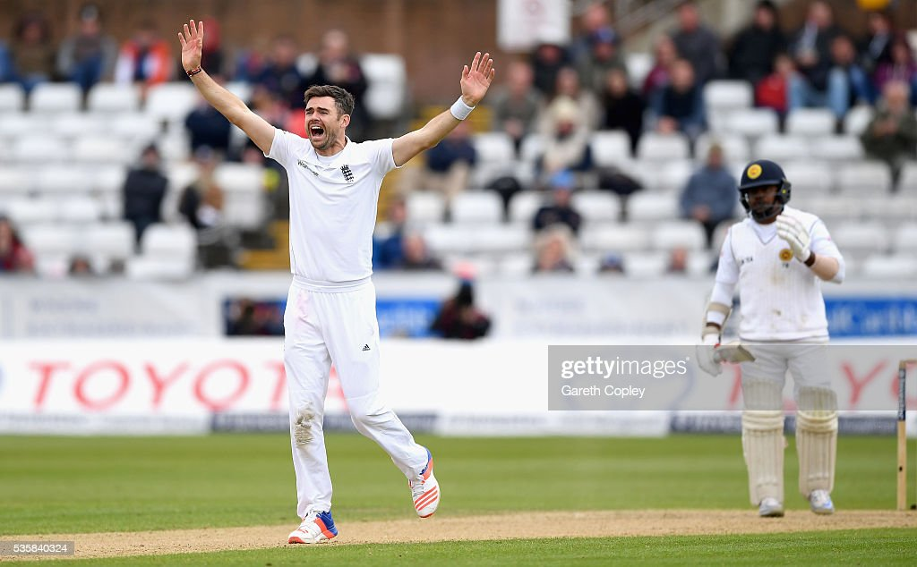 <a gi-track='captionPersonalityLinkClicked' href=/galleries/search?phrase=James+Anderson+-+Cricket+Player&family=editorial&specificpeople=6920305 ng-click='$event.stopPropagation()'>James Anderson</a> of England successfully appeals for the wicket of Rangana Herath of Sri Lanka during day four of the 2nd Investec Test match between England and Sri Lanka at Emirates Durham ICG on May 30, 2016 in Chester-le-Street, United Kingdom.