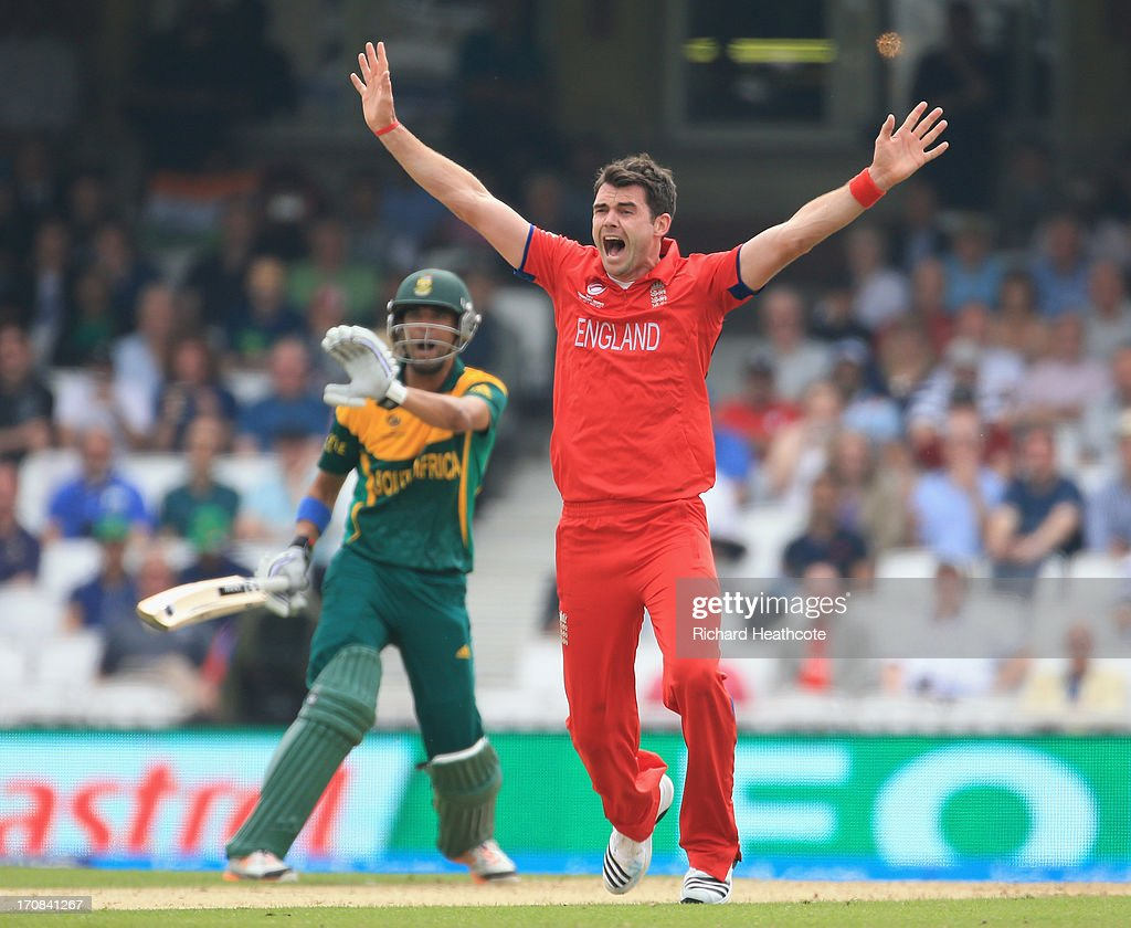 James Anderson of England sucessfully appeals for an LBW against <a gi-track='captionPersonalityLinkClicked' href=/galleries/search?phrase=Robin+Peterson&family=editorial&specificpeople=843359 ng-click='$event.stopPropagation()'>Robin Peterson</a> of Souh Africa during the ICC Champions Trophy Semi Final match between England and South Africa at The Oval on June 19, 2013 in London, England.