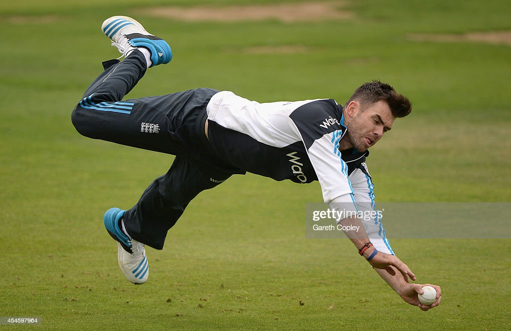 James Anderson of England takes part in a fielding drill during a nets session at Headingley on September 4 2014 in Leeds England