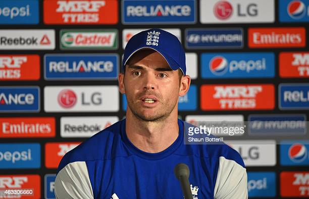 James Anderson of England talks to the media during a press conference at Melbourne Cricket Ground on February 13 2015 in Melbourne Australia