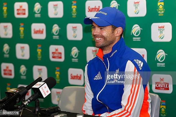 James Anderson of England talks to the media during England media access at the Wanderers Stadium on January 12 2016 in Johannesburg South Africa