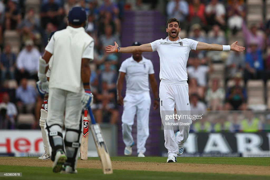<a gi-track='captionPersonalityLinkClicked' href=/galleries/search?phrase=James+Anderson+-+Cricket+Player&family=editorial&specificpeople=6920305 ng-click='$event.stopPropagation()'>James Anderson</a> of England unsuccessfully appeals for the wicket of Cheteshwar Pujara of India during day two of the 3rd Investec Test match between England and India at the Ageas Bowl on July 28, 2014 in Southampton, England.