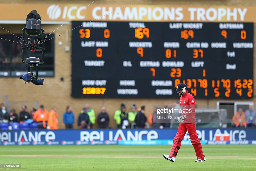 James Anderson of England walks out to bat under the eye of spidercam during the ICC Champions Trophy Group A match between England and New Zealand...