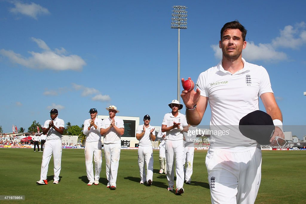 James Anderson of England with figures of 6 for 42 acknowledges the crowds applause during day two of the 3rd Test match between West Indies and...
