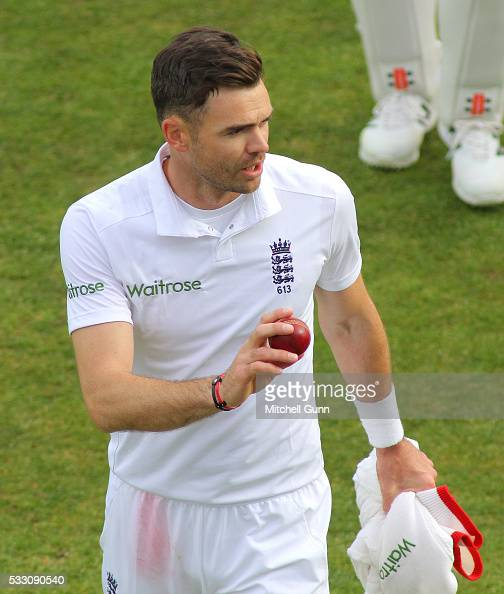 James Anderson of England with the match ball after taking five wickets during day two of the Investec Test match between England and Sri Lanka at...