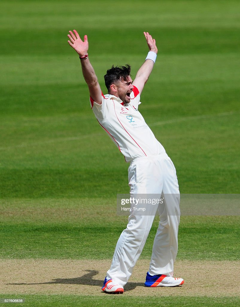 <a gi-track='captionPersonalityLinkClicked' href=/galleries/search?phrase=James+Anderson+-+Cricketspeler&family=editorial&specificpeople=6920305 ng-click='$event.stopPropagation()'>James Anderson</a> of Lancashire appeals during Day Three of the Specsavers County Championship Division One match between Someret and Lancashire at the County Ground on May 03, 2016 in Somerset, United Kingdom.