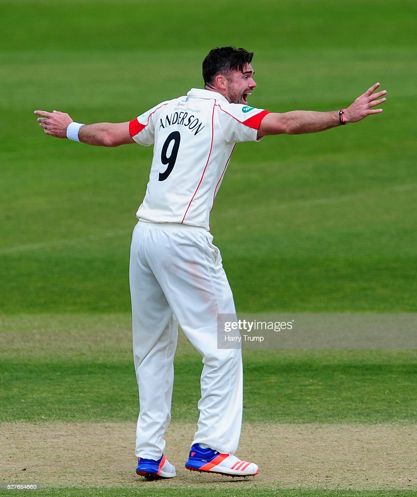 <a gi-track='captionPersonalityLinkClicked' href=/galleries/search?phrase=James+Anderson+-+Cricketspelare&family=editorial&specificpeople=6920305 ng-click='$event.stopPropagation()'>James Anderson</a> of Lancashire appeals during Day Three of the Specsavers County Championship Division One match between Someret and Lancashire at the County Ground on May 03, 2016 in Somerset, United Kingdom.