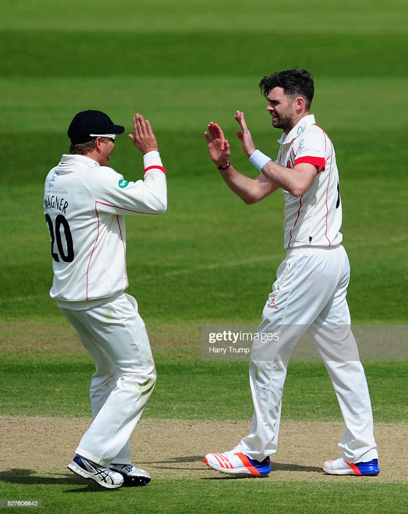 <a gi-track='captionPersonalityLinkClicked' href=/galleries/search?phrase=James+Anderson+-+Cricketspeler&family=editorial&specificpeople=6920305 ng-click='$event.stopPropagation()'>James Anderson</a> of Lancashire celebrates after dismissing Peter Trego of Somerset during Day Three of the Specsavers County Championship Division One match between Someret and Lancashire at the County Ground on May 03, 2016 in Somerset, United Kingdom.