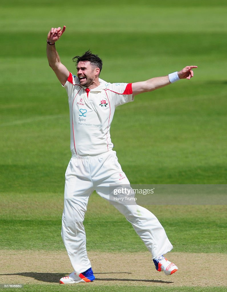 <a gi-track='captionPersonalityLinkClicked' href=/galleries/search?phrase=James+Anderson+-+Cricketspeler&family=editorial&specificpeople=6920305 ng-click='$event.stopPropagation()'>James Anderson</a> of Lancashire celebrates after dismissing Roleof Van Der Merwe of Somerset during Day Three of the Specsavers County Championship Division One match between Someret and Lancashire at the County Ground on May 03, 2016 in Somerset, United Kingdom.