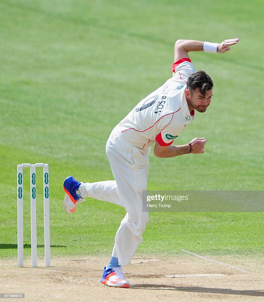 <a gi-track='captionPersonalityLinkClicked' href=/galleries/search?phrase=James+Anderson+-+Cricket+Player&family=editorial&specificpeople=6920305 ng-click='$event.stopPropagation()'>James Anderson</a> of Lancashire during Day Three of the Specsavers County Championship Division One match between Someret and Lancashire at the County Ground on May 03, 2016 in Somerset, United Kingdom.