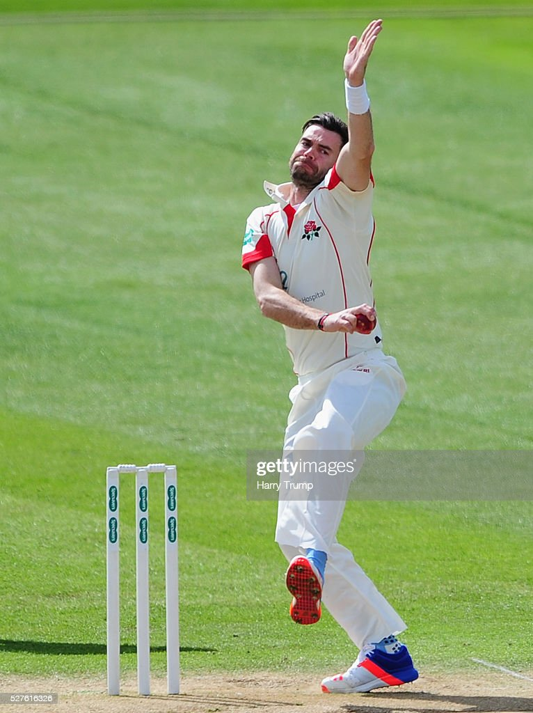 <a gi-track='captionPersonalityLinkClicked' href=/galleries/search?phrase=James+Anderson+-+Cricketspelare&family=editorial&specificpeople=6920305 ng-click='$event.stopPropagation()'>James Anderson</a> of Lancashire during Day Three of the Specsavers County Championship Division One match between Someret and Lancashire at the County Ground on May 03, 2016 in Somerset, United Kingdom.