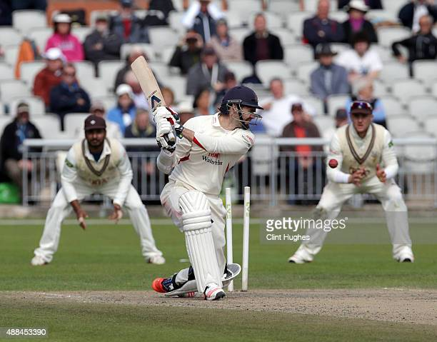 James Anderson of Lancashire is bowled by Tom Curran of Surrey during day three of the LV County Championship Division Two match between Lancashire...