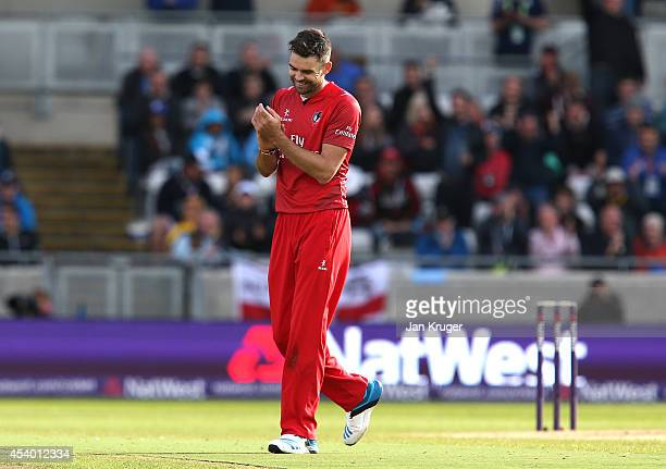 James Anderson of Lancashire Lightning celebrates the wicket of Jimmy Adams of Hampshire during the Natwest T20 Blast Semi Final match between...