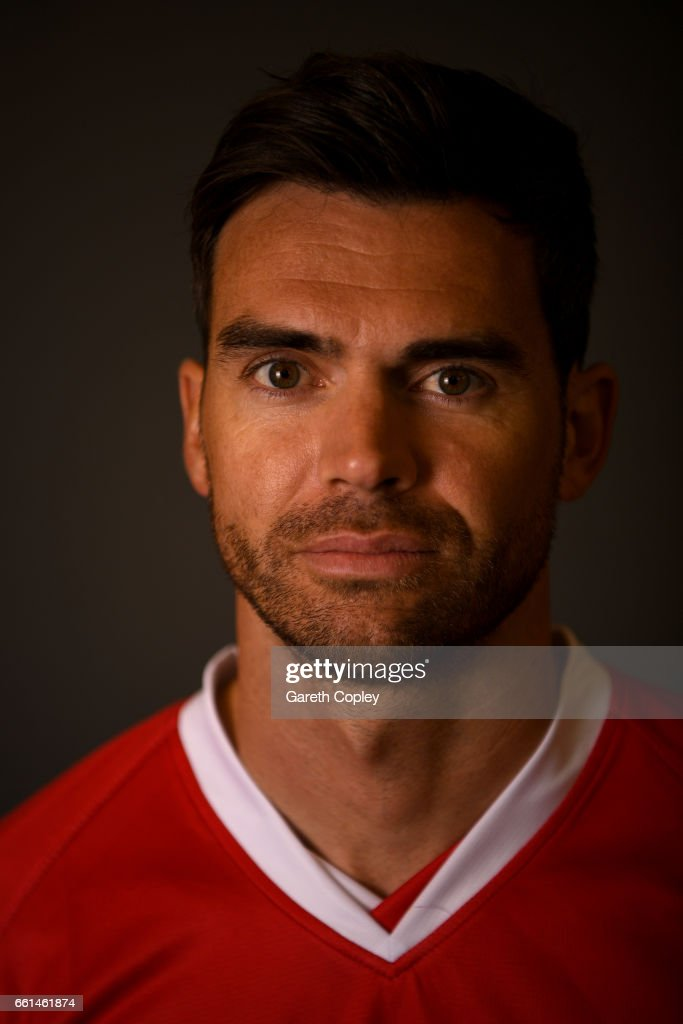 James Anderson of Lancashire poses for a portrait during the Lancashire CCC Photocall at Old Trafford on March 31, 2017 in Manchester, England.