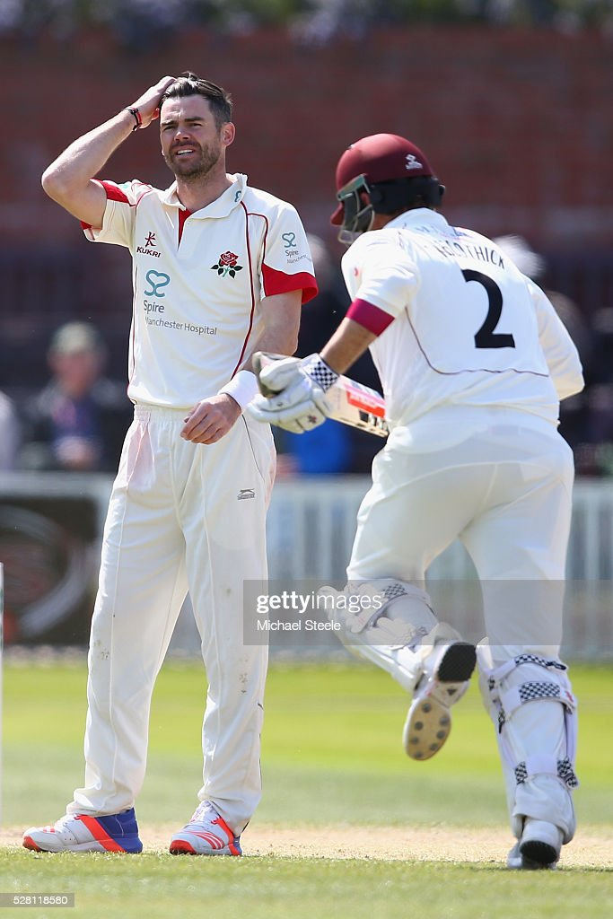 <a gi-track='captionPersonalityLinkClicked' href=/galleries/search?phrase=James+Anderson+-+Cricket&family=editorial&specificpeople=6920305 ng-click='$event.stopPropagation()'>James Anderson</a> (L) of Lancashire shows his frustration as <a gi-track='captionPersonalityLinkClicked' href=/galleries/search?phrase=Marcus+Trescothick&family=editorial&specificpeople=171643 ng-click='$event.stopPropagation()'>Marcus Trescothick</a> of Somerset takes a single during day four of the Specsavers County Championship Division One match between Somerset and Lancashire at The Cooper Associates County Ground on May 4, 2016 in Somerset, United Kingdom.