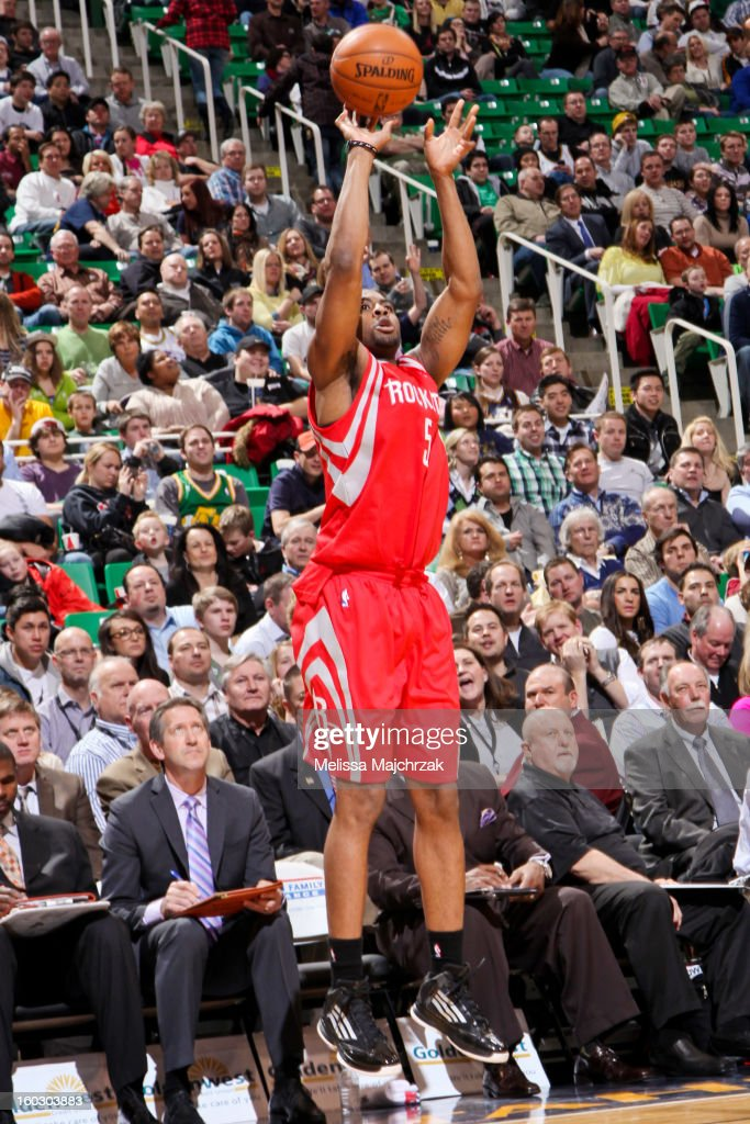 James Anderson #5 of the Houston Rockets shoots a three-pointer against the Utah Jazz at Energy Solutions Arena on January 28, 2013 in Salt Lake City, Utah.