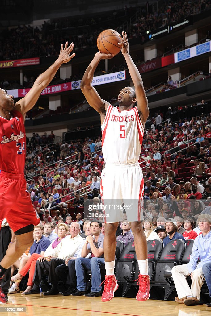 James Anderson #5 of the Houston Rockets shoots against the Los Angeles Clippers on March 30, 2013 at the Toyota Center in Houston, Texas.