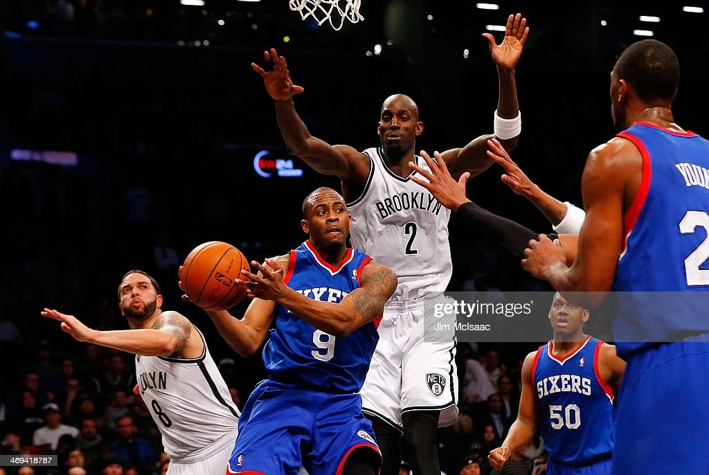 James Anderson #9 of the Philadelphia 76ers in action against Kevin Garnett #2 of the Brooklyn Nets at Barclays Center on February 3, 2014 in the Brooklyn borough of New York City.The Nets defeated the 76ers 108-102.