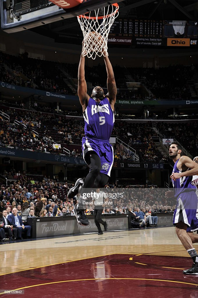 James Anderson #5 of the Sacramento Kings goes to the basket against the Cleveland Cavaliers on February 8, 2016 at Quicken Loans Arena in Cleveland, Ohio.