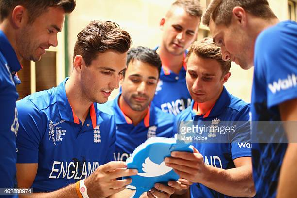 James Anderson Steven Finn Ravi Bopara Alex Hales James Taylor and Chris Woakes use a twitter mirror during an England media session at The...
